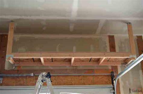 diy   build suspended garage storage shelves