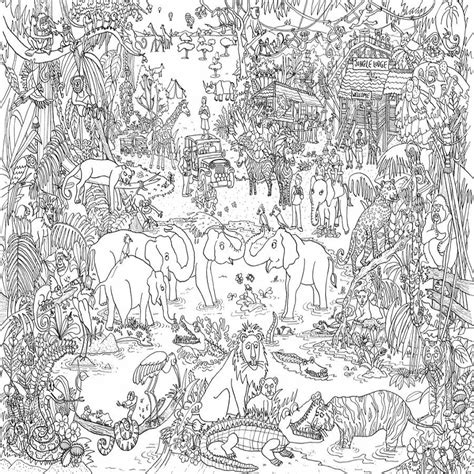 jungle safari colouring in poster by really giant posters