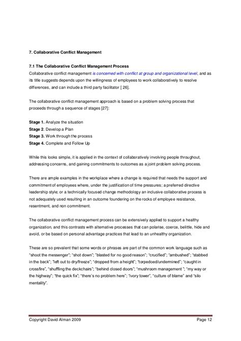 Conflict Resolution Dissertation by Essay On Conflict Management Conflict Essays Resume