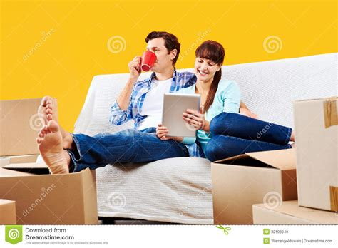 couch couple sofa couple relaxing royalty free stock images image