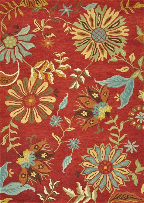 Loloi Rugs Dahldh 03re Dahlia Red Transitional Hand Tufted Floral Rugs