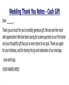 Wedding Thank You Note Template Money Sle Thank You Note For Money 7 Exles In Word Pdf