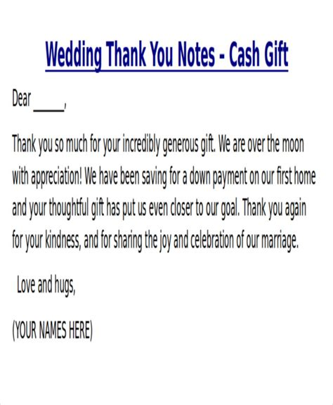 thank you letter marriage gift sle thank you note for money 7 exles in word pdf