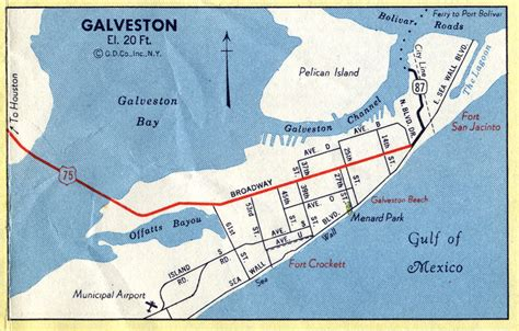 galveston map texas highway maps of texas