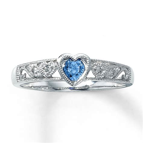 jared blue topaz ring accents 10k white gold