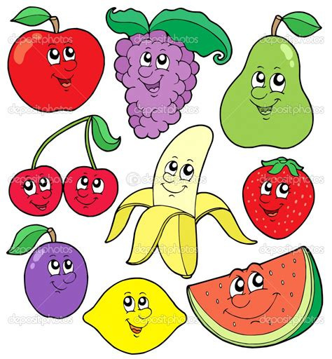 cute colors cute and colorful fruits in cartoon colors photo