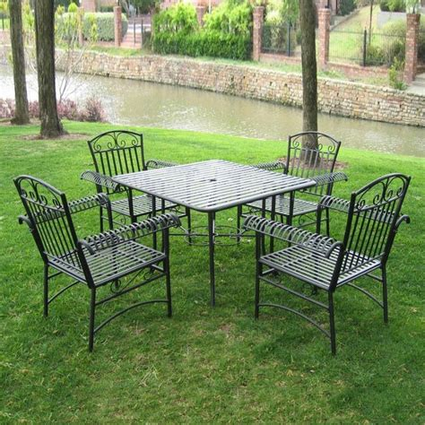 Shop International Caravan 5 Piece Slat Seat Wrought Iron Wrought Iron Patio Dining Set