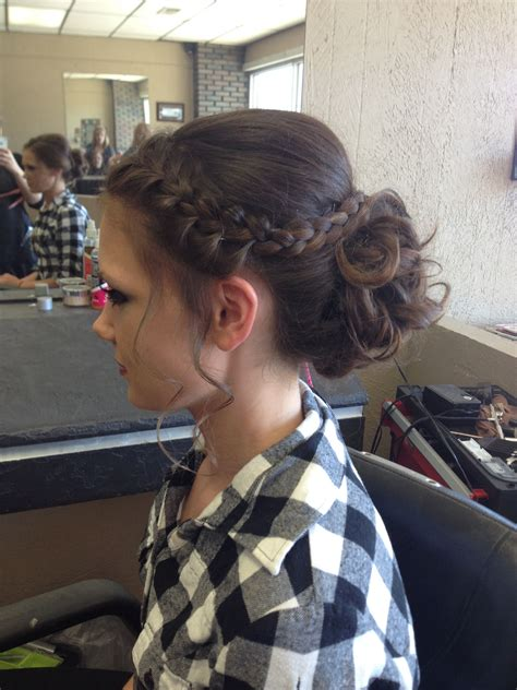 hairbuns on pinterest french braid buns updo and updos formal updo for prom this year curled bun with french