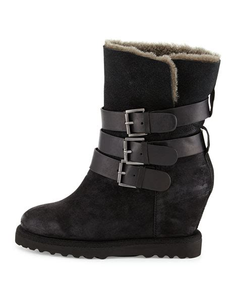 ash yes buckle wedge suede boot black