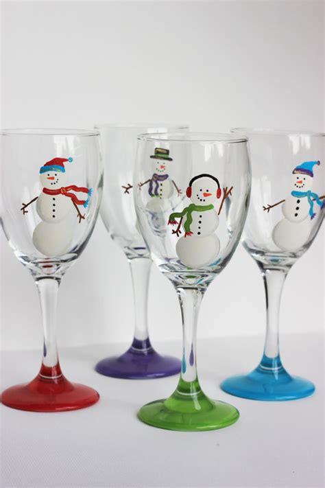 2326x1619mm snowmen with green scarves snowmen wine glasses set of 4 purple by