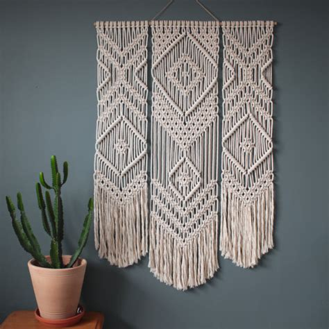 How To Macrame A Wall Hanging - macrame wall hanging trio 100 cotton cord in
