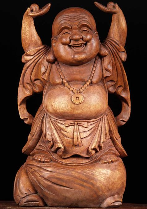 Happy Buddha Sold Wood Happy Buddha Of Wealth 24 Quot 2bw7 Hindu