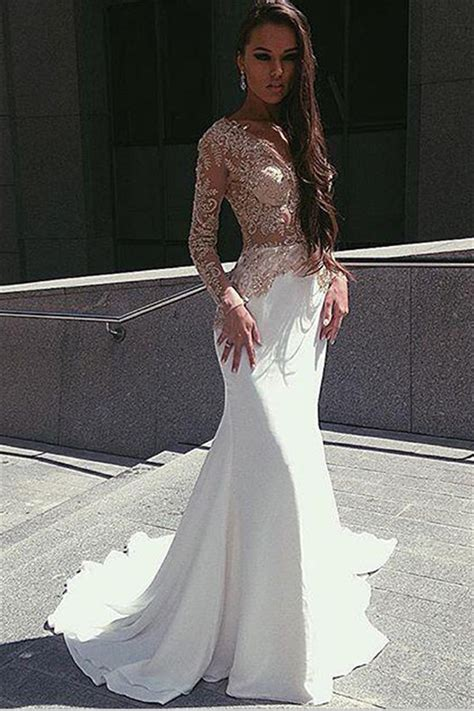 Champagne Gold Appliques Long Sleeves Prom Dress 2017