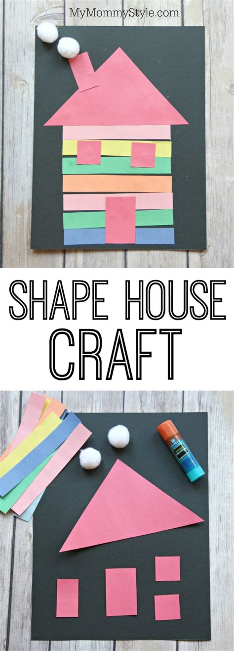little family fun shape house educational craft house craft made out of shapes for preschoolers a great