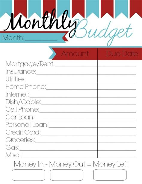 monthly budget printable woman roles