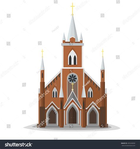 Wonderful Front View Of A House Plan #6: Stock-vector-catholic-church-facade-europe-architecture-modern-flat-design-city-christian-architecture-object-409240858.jpg