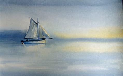 boat painters boat sea landscape painting wallpaper 2560x1600 9077