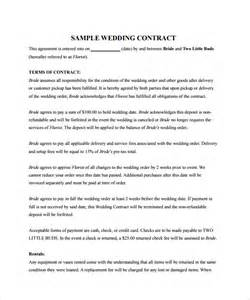Wedding Florist Contract Template by Sle Wedding Contract 14 Documents In Pdf Word