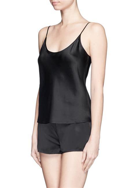 la perla silk satin camisole  black lyst