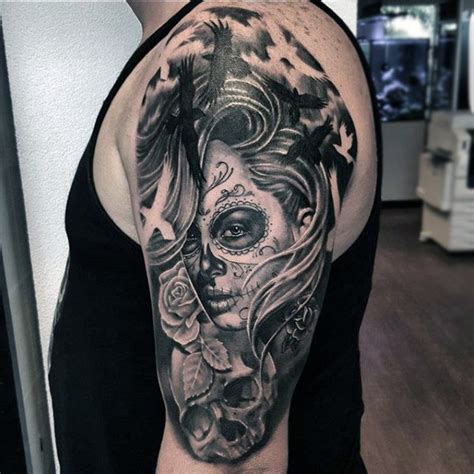 day of the dead skull tattoos for men dia de los muertos skull tattoos for www pixshark