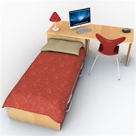 bed and desk set 3d bed desk set model