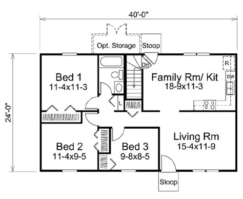 floor plan for a 940 sq ft ranch style home ranch style house plan 3 beds 1 baths 960 sq ft plan 57 465