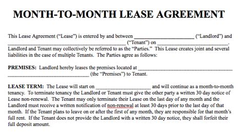 Basic Rental Agreement In A Word Document For Fre Month To Month Lease Template