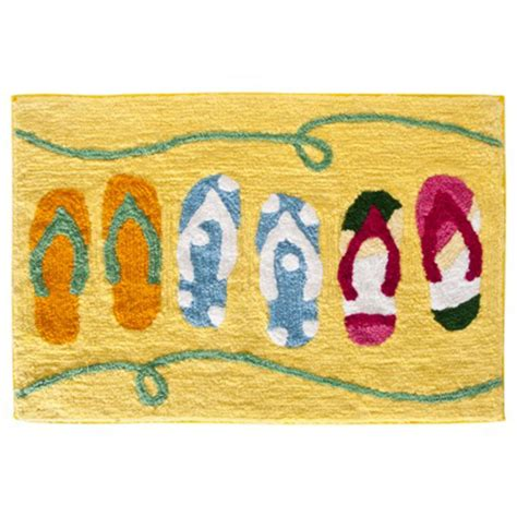 sun  sand flip flop yellow beach themed cotton bath mat bathroom rug accent ebay