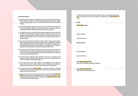Employment Agency Agreement Template In Word Apple Pages Recruitment Agency Agreement Template