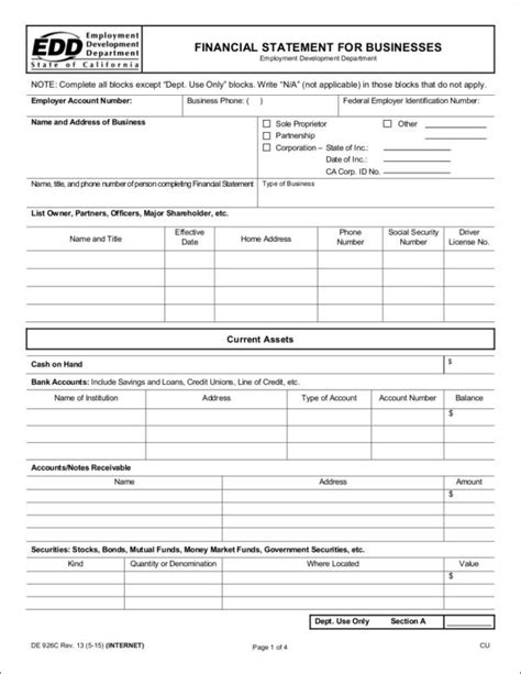 free business financial statement template 9 essential business financial statement sles