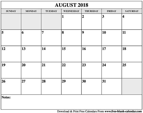 printable calendar august 2018 blank august 2018 calendar printable