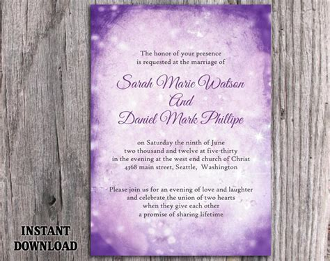 printable wedding invitation lavender diy rustic wedding invitation template editable word file