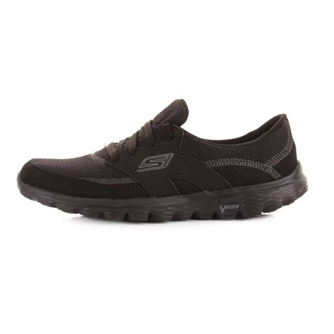 skechers black sneakers womens skechers go walk 2 stance lace up all black shoes