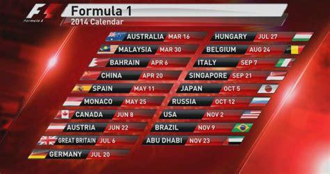 Calendrier Team 2014 F1 2014 Calendar Formula 1