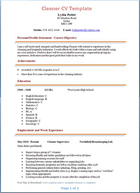 house cleaning resume sle cleaner resume template 28 images unforgettable house
