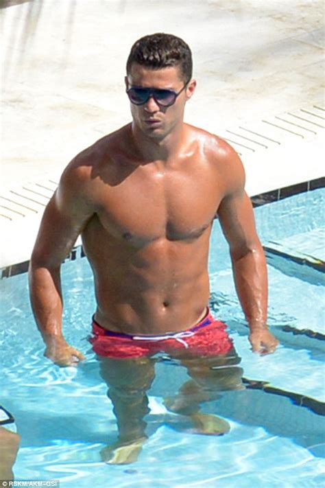 shirtless cristiano ronaldo enjoys boys day at the pool