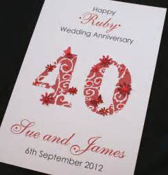 large handmade personalised 40th ruby wedding anniversary card ebay