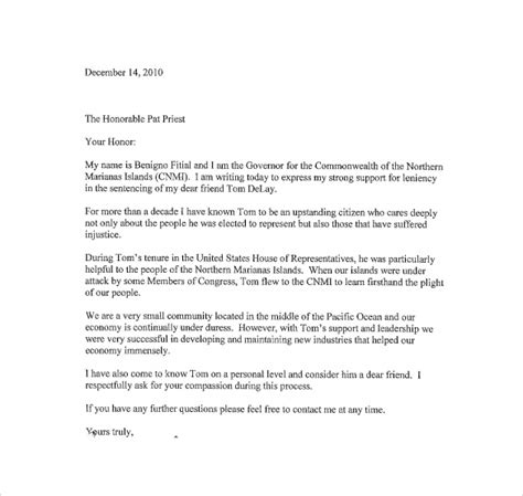 sample character letter to judge letter of recommendation