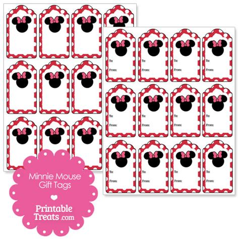 Printable Minnie Mouse Christmas Gift Tags | printable minnie mouse gift tags printable treats com