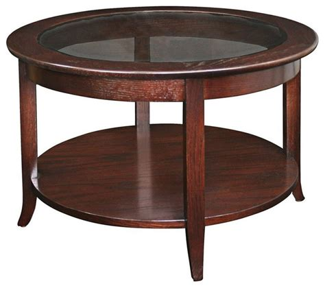 intrigue transitional round glass top table chairs leick furniture solid wood round glass top coffee table in