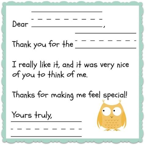 card templates for children thank you note template for free teaching
