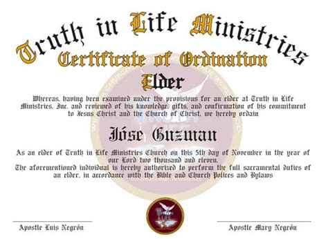 ordination certificates for your church