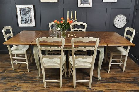 shabby chic oak dining table with 6 chairs in