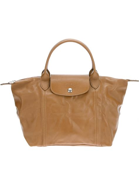 Longch Le Pliage Cuir Lcs longch le pliage cuir tote in brown lyst
