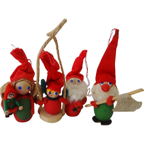 vintage hollime denmark christmas elf ornaments set from