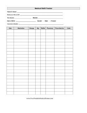 printable medical refill tracker