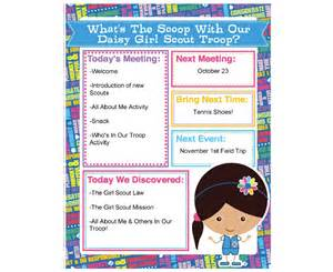 daisy scout agenda meeting handout printable instant