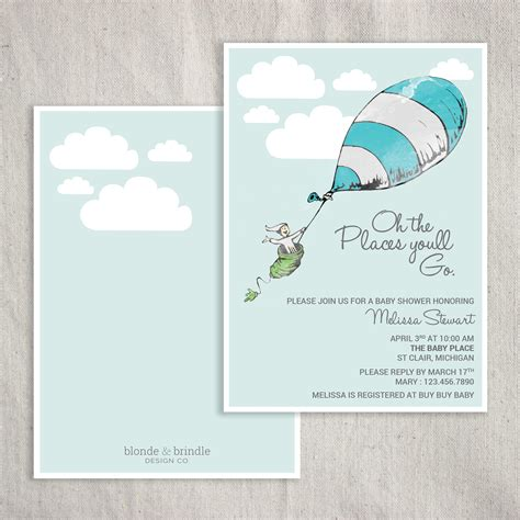 Dr Seuss Themed Baby Shower Invitations by Oh The Places You Ll Go Dr Seuss Themed Baby Shower