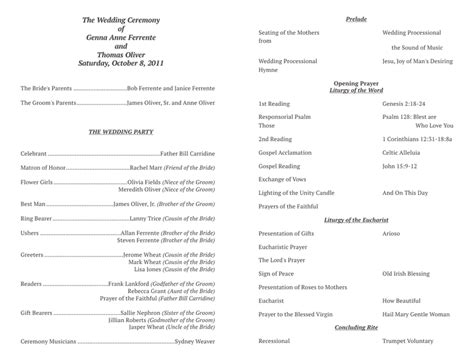 ceremony program template free wedding program templates no cover wedding