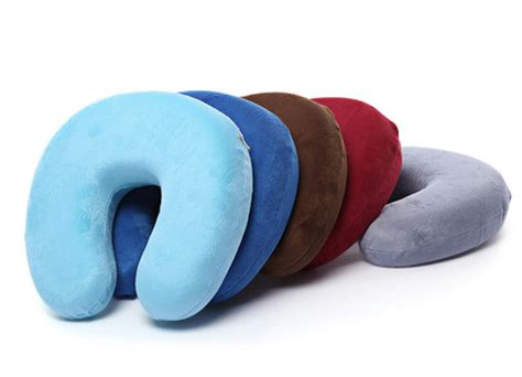 The Luxe Travel Pillow U Neck Blue u shaped memory foam travel neck pillow freedom travel gear